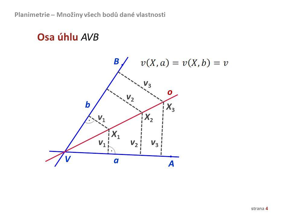Osa úhlu AVB B v3 o v2 b X3 v1 X2 X1 v1 v2 v3 V a A