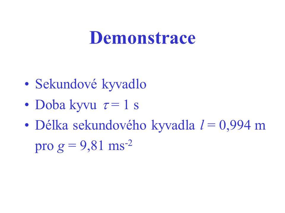 Demonstrace Sekundové kyvadlo Doba kyvu  = 1 s