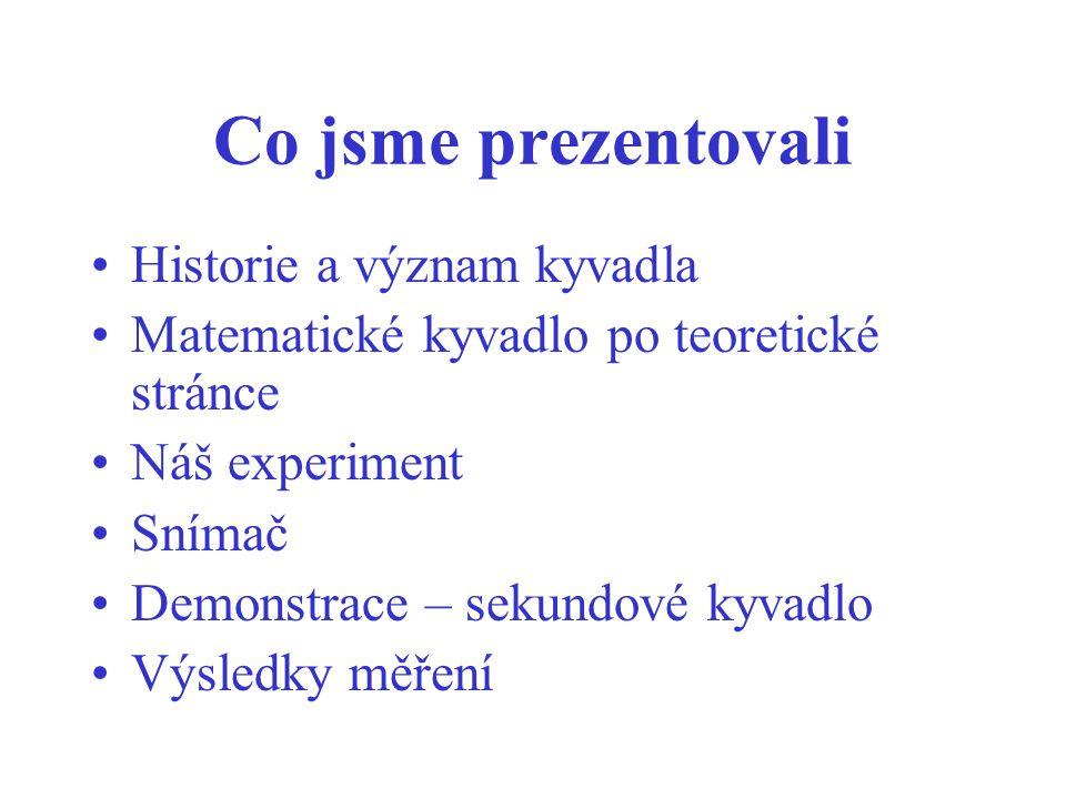 Co jsme prezentovali Historie a význam kyvadla