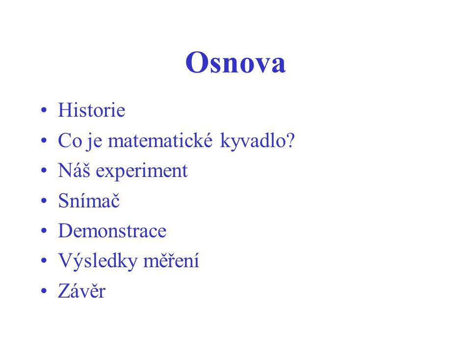Osnova Historie Co je matematické kyvadlo Náš experiment Snímač