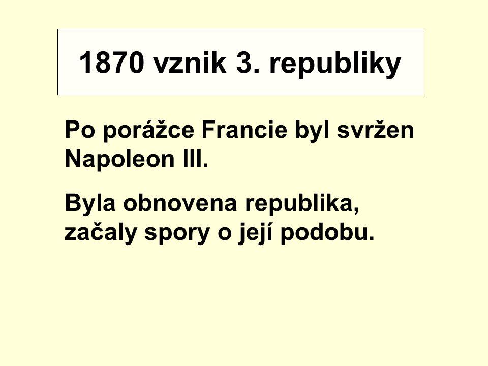 1870 vznik 3. republiky Po porážce Francie byl svržen Napoleon III.