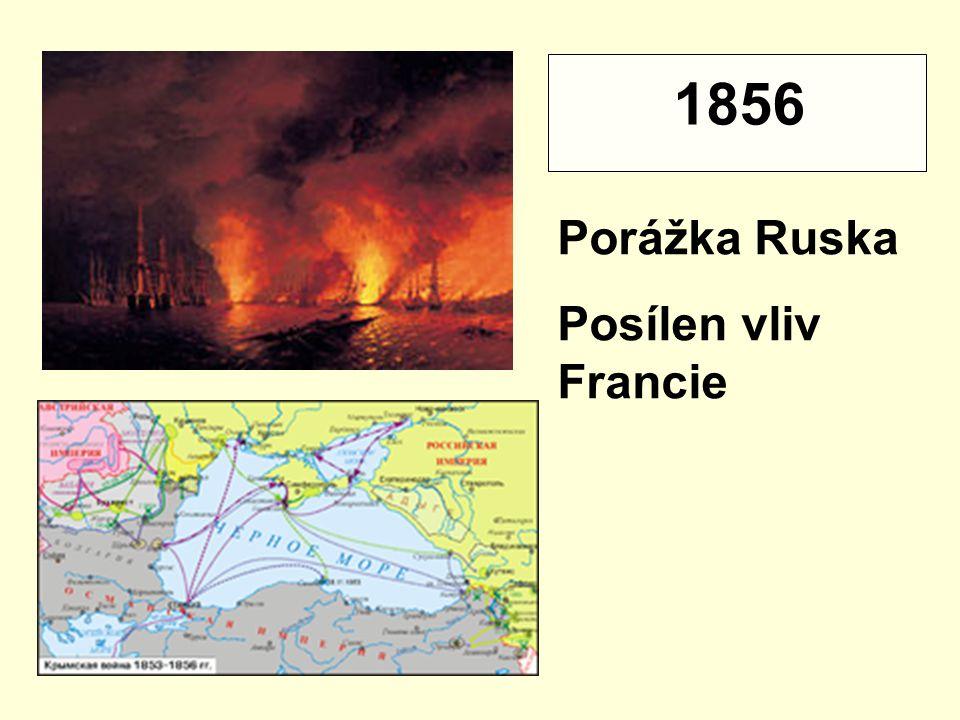 1856 Porážka Ruska Posílen vliv Francie