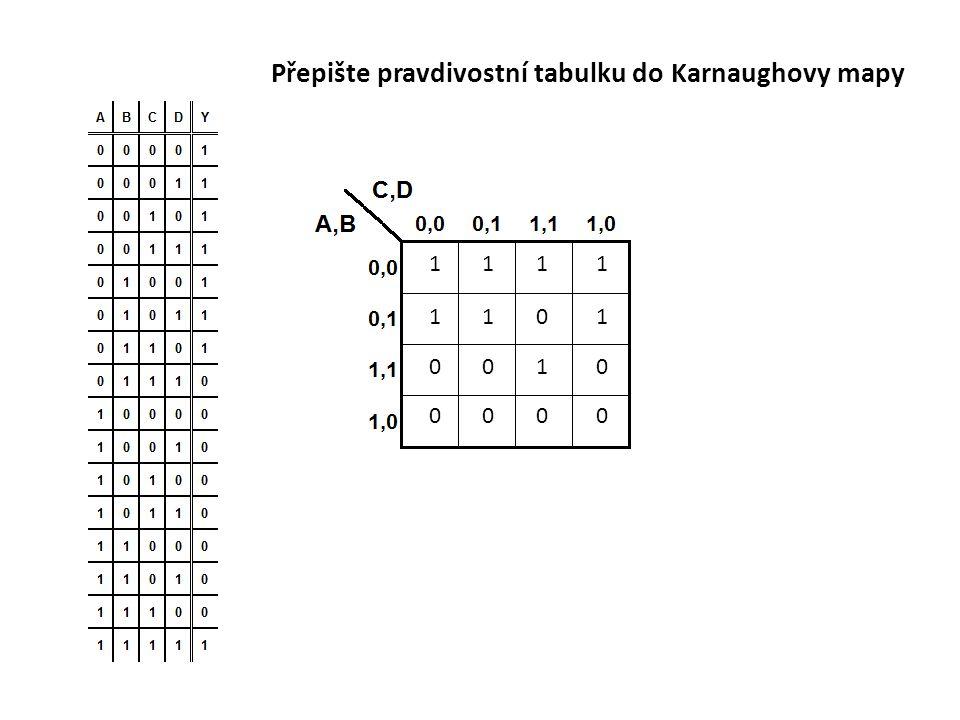 Přepište pravdivostní tabulku do Karnaughovy mapy