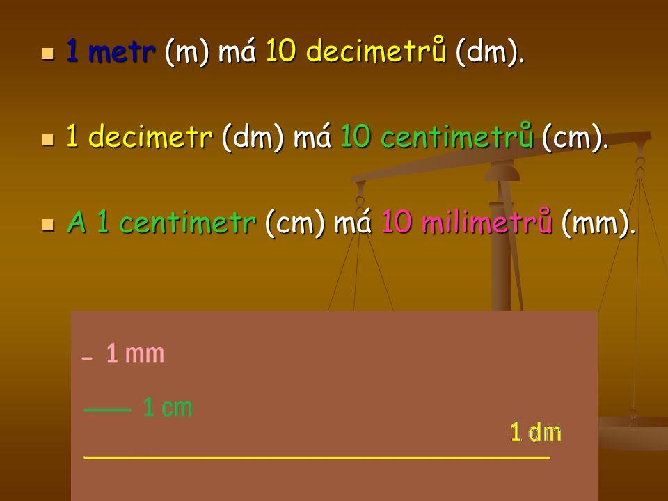 1 metr (m) má 10 decimetrů (dm).
