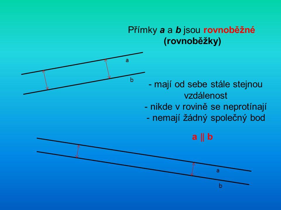 Přímky a a b jsou rovnoběžné (rovnoběžky)