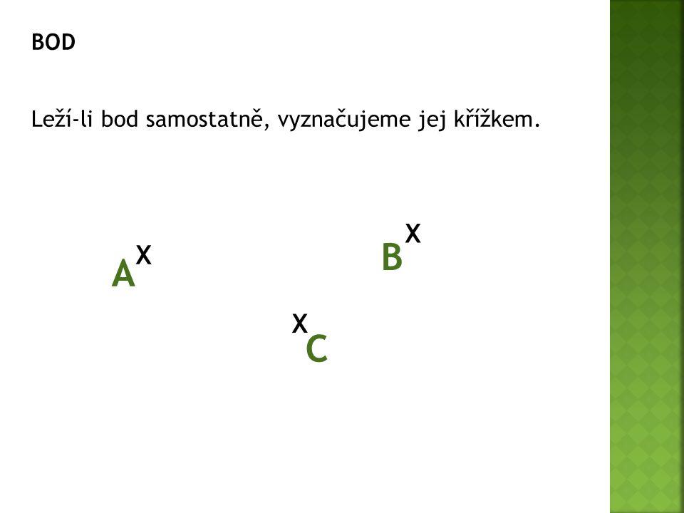 BOD Leží-li bod samostatně, vyznačujeme jej křížkem. X B X A X C