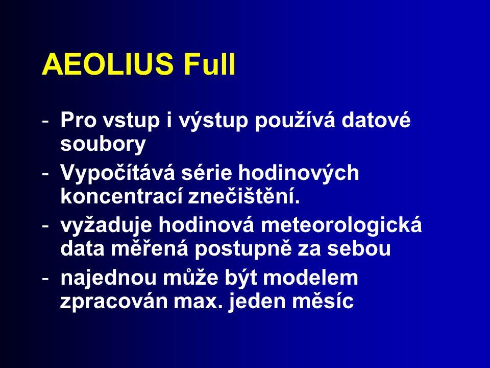 AEOLIUS Full Pro vstup i výstup používá datové soubory