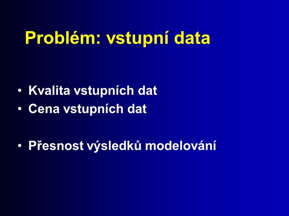 Problém: vstupní data Kvalita vstupních dat Cena vstupních dat