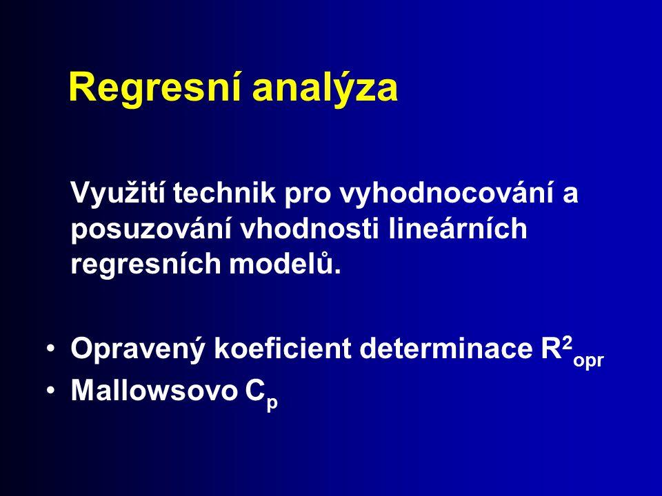 Regresní analýza Využití technik pro vyhodnocování a posuzování vhodnosti lineárních regresních modelů.