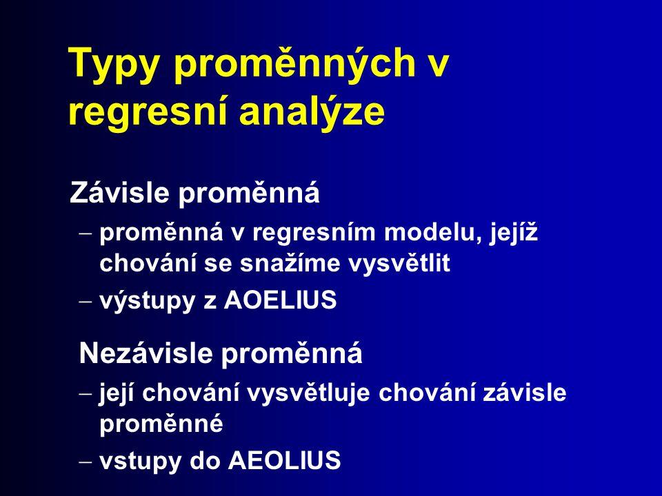 Typy proměnných v regresní analýze