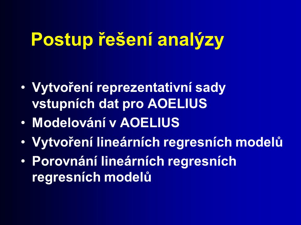 Postup řešení analýzy Vytvoření reprezentativní sady vstupních dat pro AOELIUS. Modelování v AOELIUS.