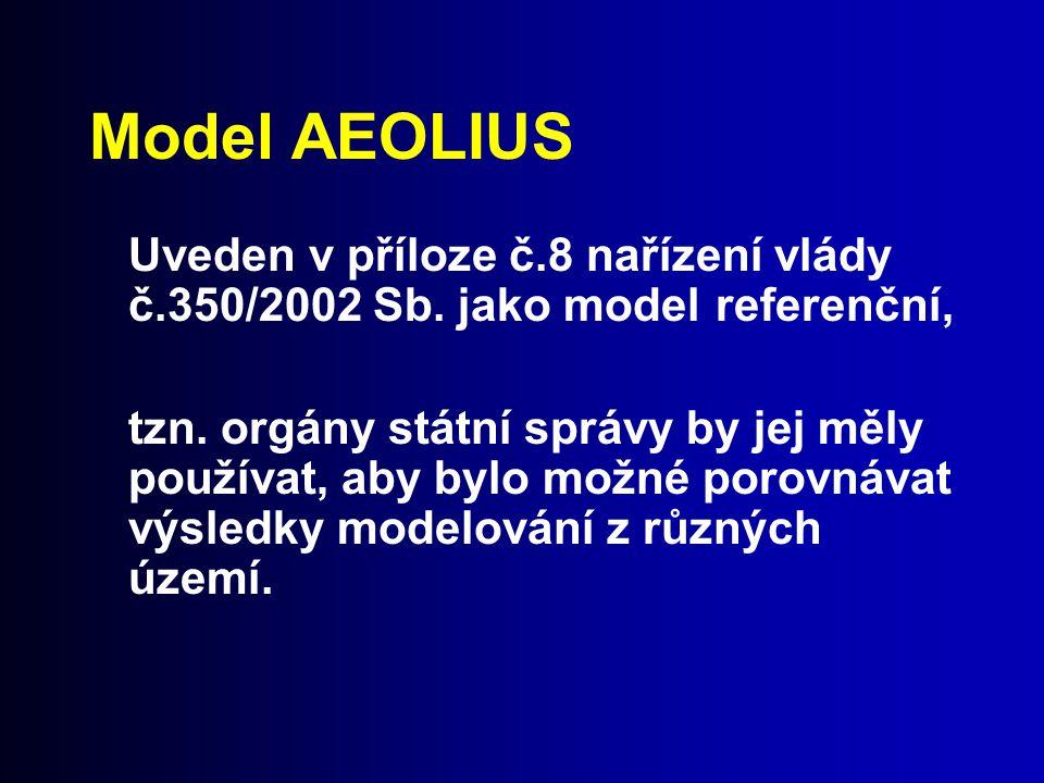 Model AEOLIUS Uveden v příloze č.8 nařízení vlády č.350/2002 Sb. jako model referenční,