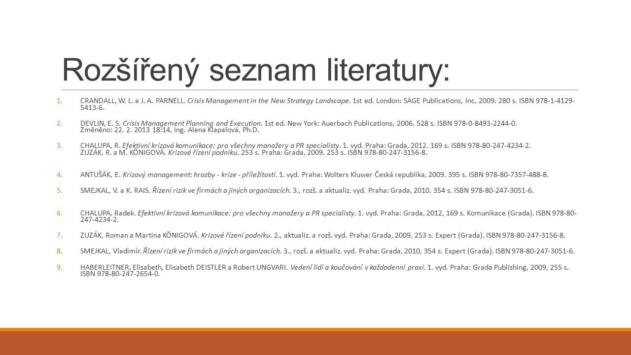 Rozšířený seznam literatury: