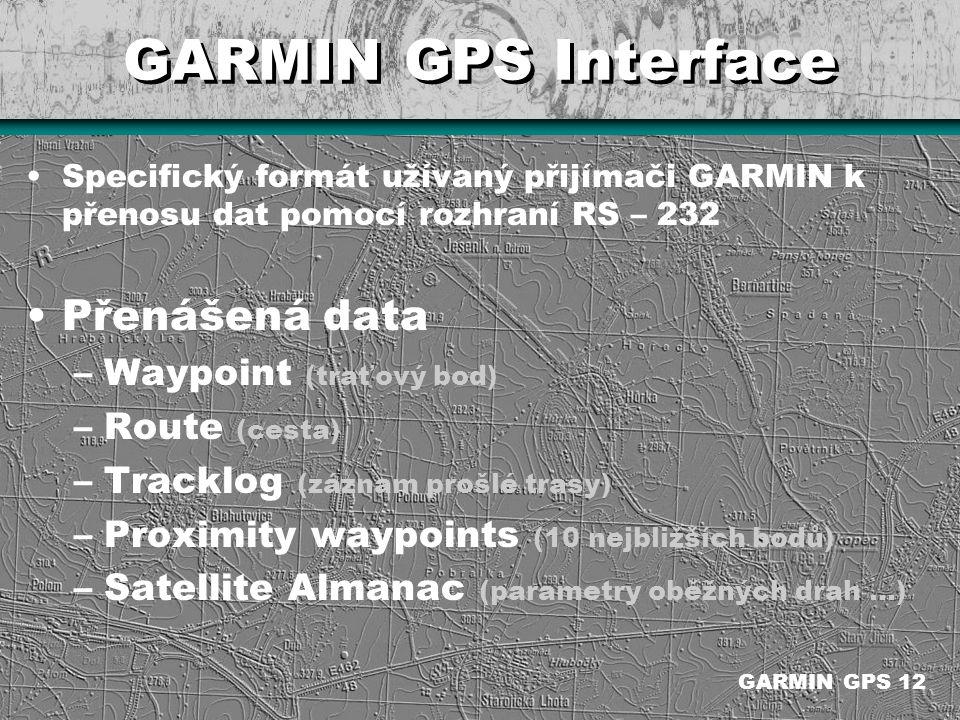 GARMIN GPS Interface Přenášená data Waypoint (traťový bod)