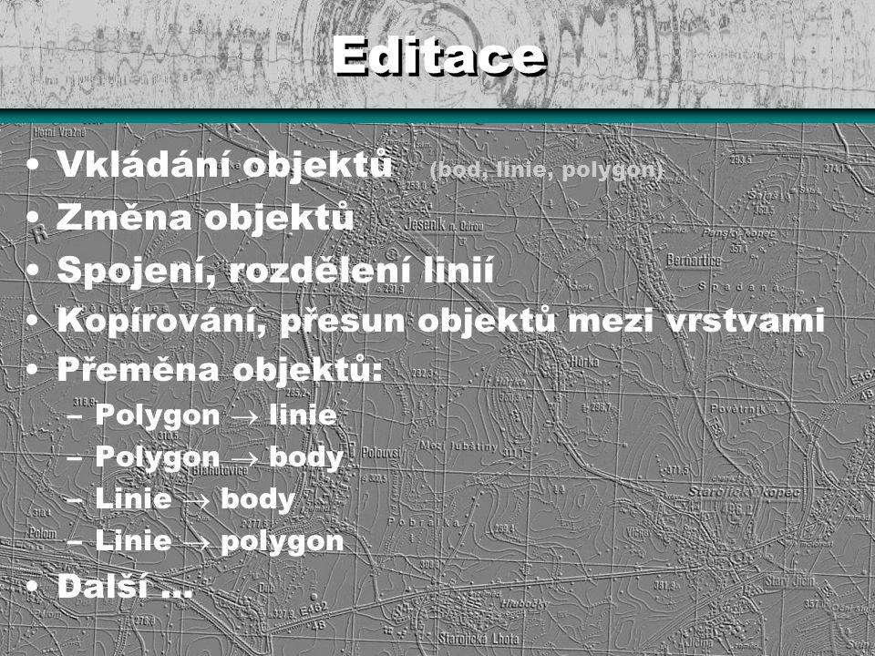 Editace Vkládání objektů (bod, linie, polygon) Změna objektů