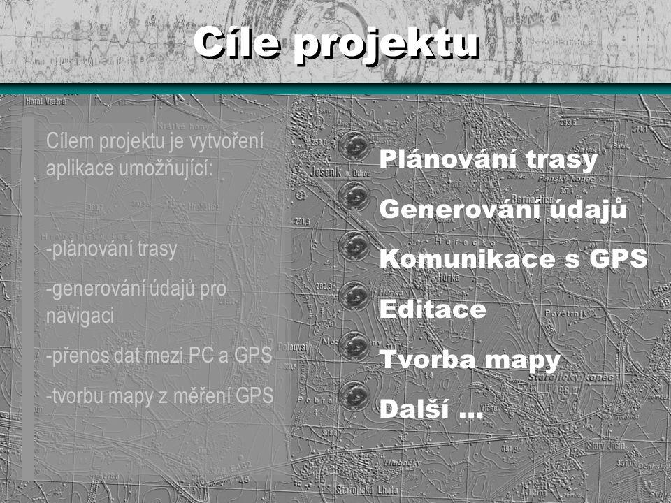 Cíle projektu Plánování trasy Generování údajů Komunikace s GPS