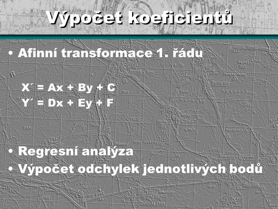 Výpočet koeficientů Afinní transformace 1. řádu Regresní analýza