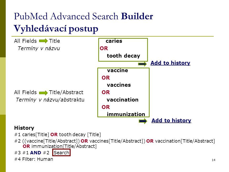 PubMed Advanced Search Builder Vyhledávací postup