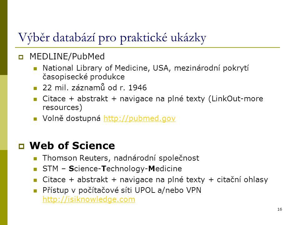Výběr databází pro praktické ukázky