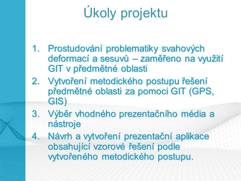 Úkoly projektu Prostudování problematiky svahových deformací a sesuvů – zaměřeno na využití GIT v předmětné oblasti.