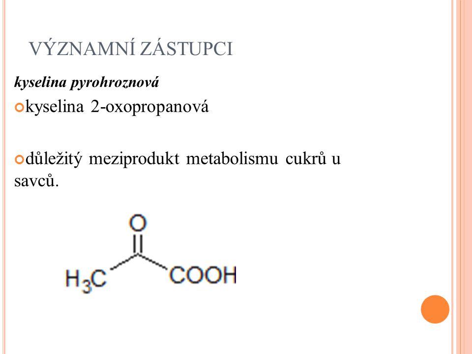 VÝZNAMNÍ ZÁSTUPCI kyselina 2-oxopropanová