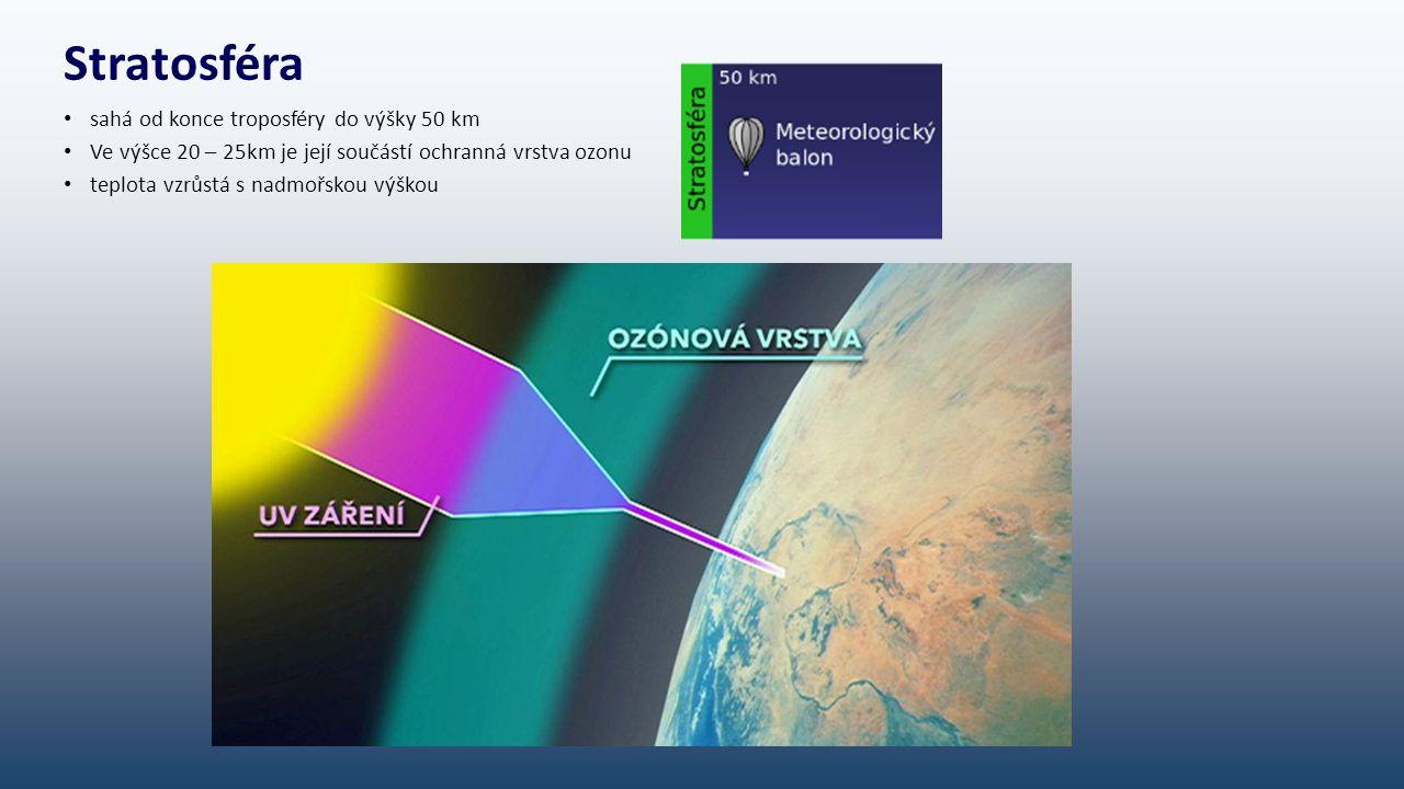 Stratosféra sahá od konce troposféry do výšky 50 km