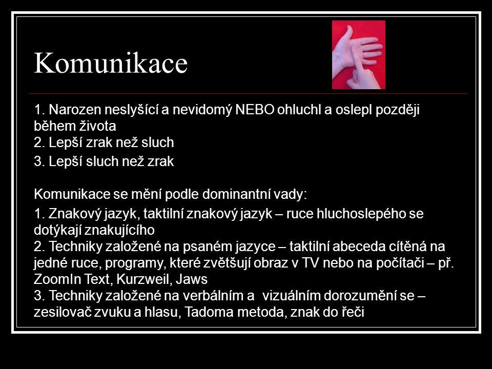 Komunikace 1. Narozen neslyšící a nevidomý NEBO ohluchl a oslepl později během života 2. Lepší zrak než sluch.