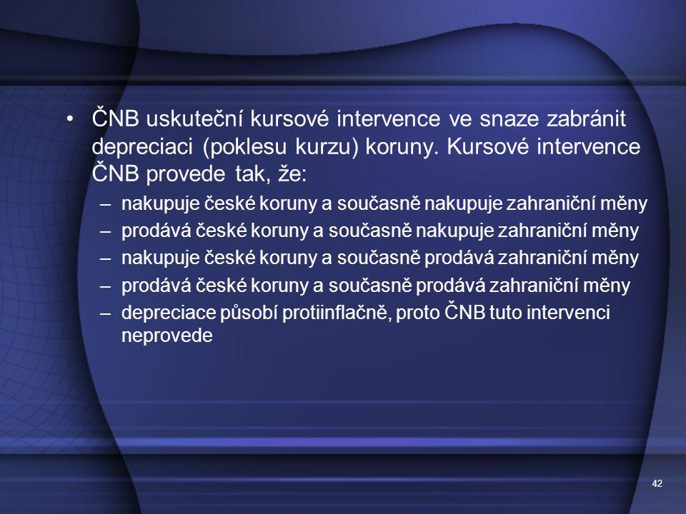 ČNB uskuteční kursové intervence ve snaze zabránit depreciaci (poklesu kurzu) koruny. Kursové intervence ČNB provede tak, že: