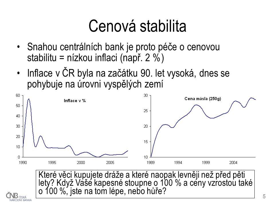Cenová stabilita Snahou centrálních bank je proto péče o cenovou stabilitu = nízkou inflaci (např. 2 %)