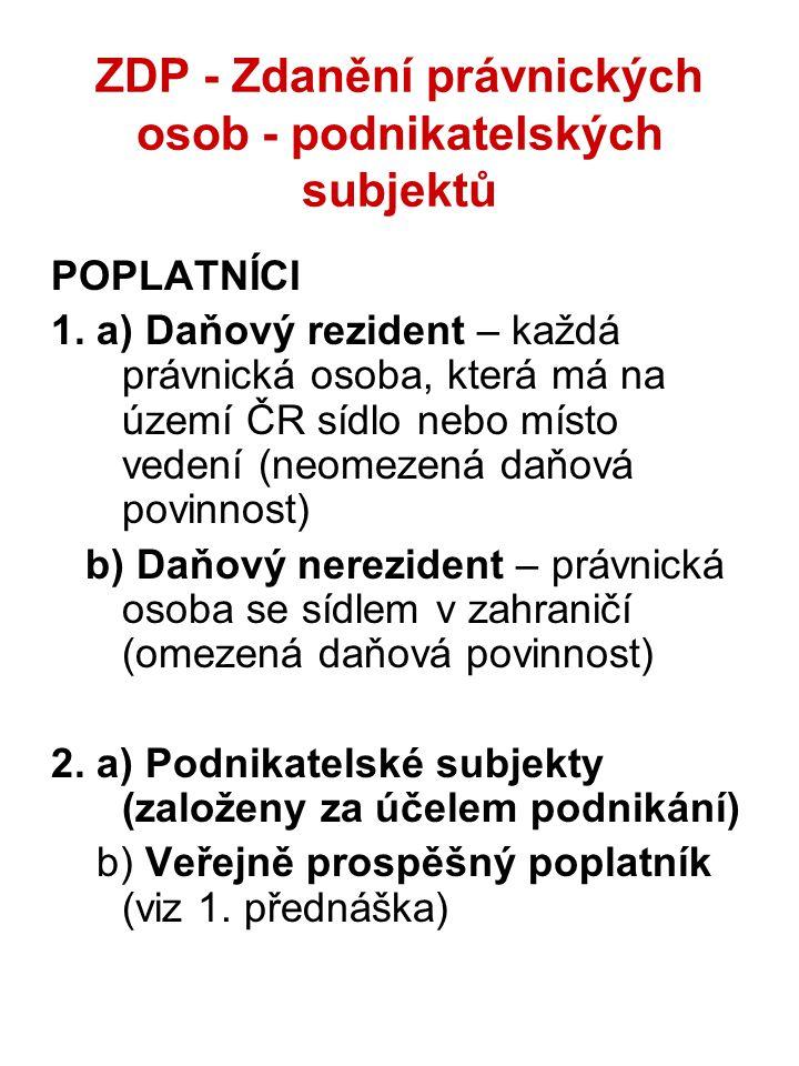 ZDP - Zdanění právnických osob - podnikatelských subjektů