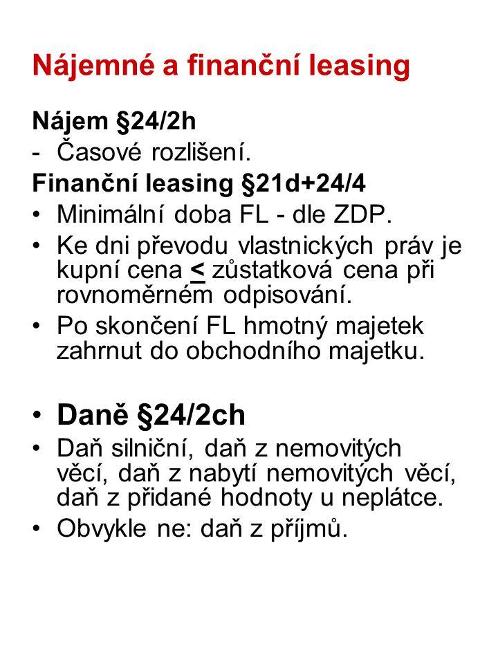 Nájemné a finanční leasing