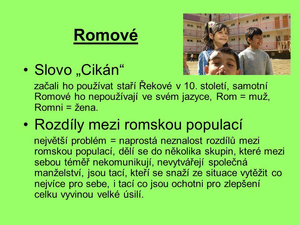 """Romové Slovo """"Cikán Rozdíly mezi romskou populací"""