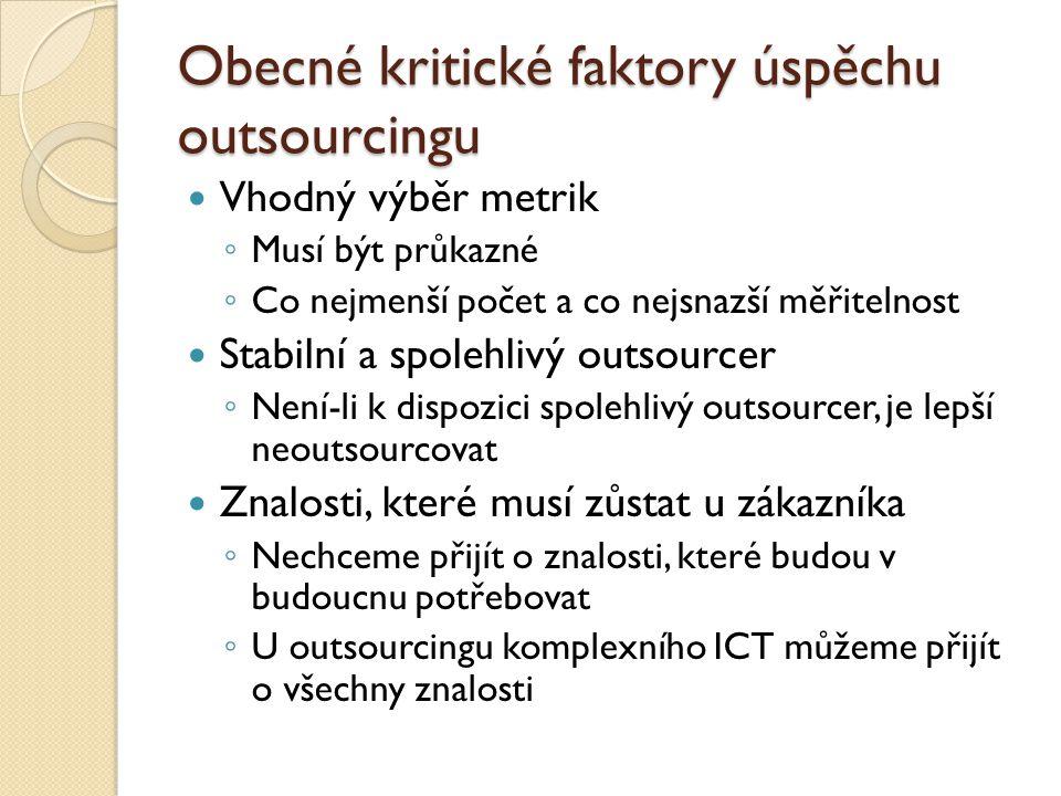 Obecné kritické faktory úspěchu outsourcingu