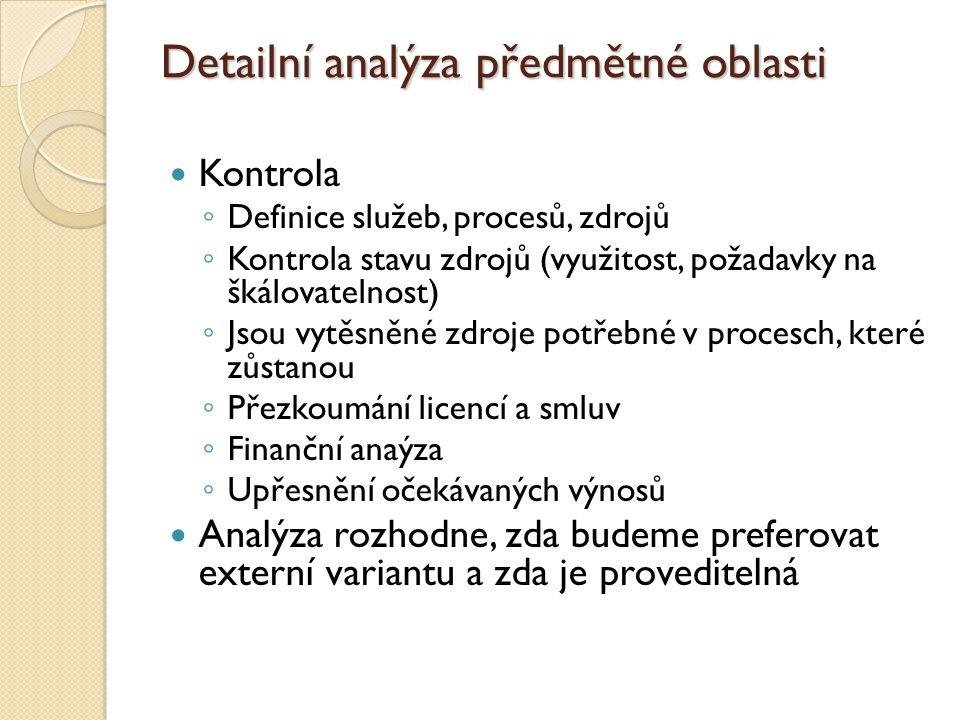 Detailní analýza předmětné oblasti