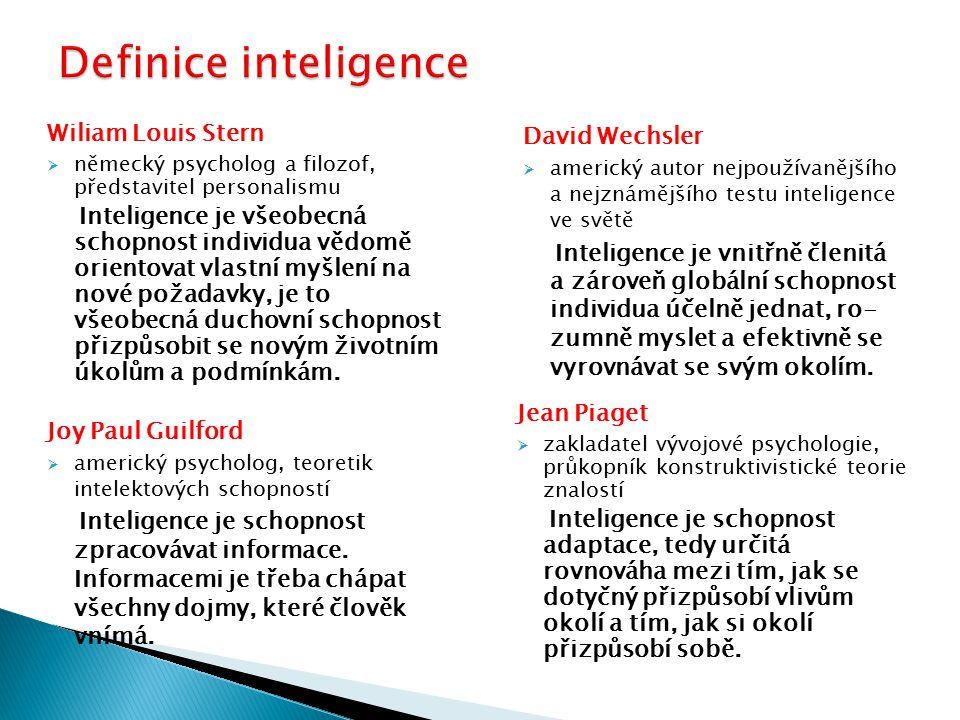 Definice inteligence Wiliam Louis Stern David Wechsler Jean Piaget