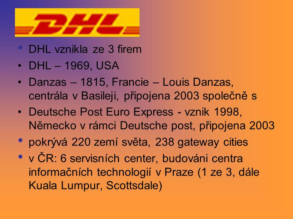 DHL vznikla ze 3 firem DHL – 1969, USA. Danzas – 1815, Francie – Louis Danzas, centrála v Basileji, připojena 2003 společně s.