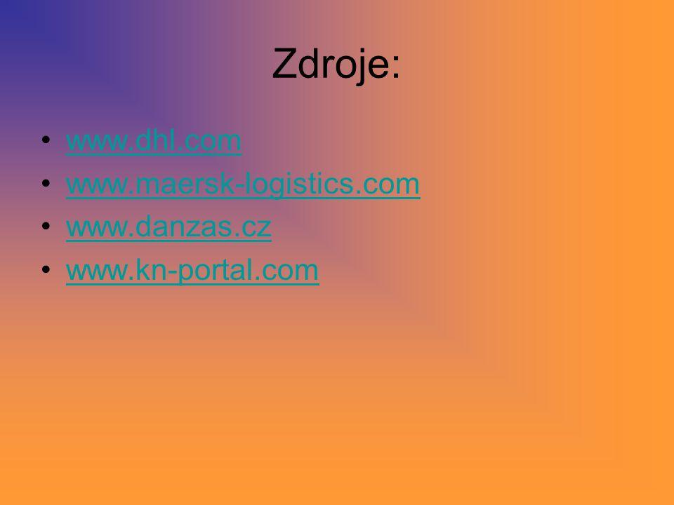 Zdroje: www.dhl.com www.maersk-logistics.com www.danzas.cz