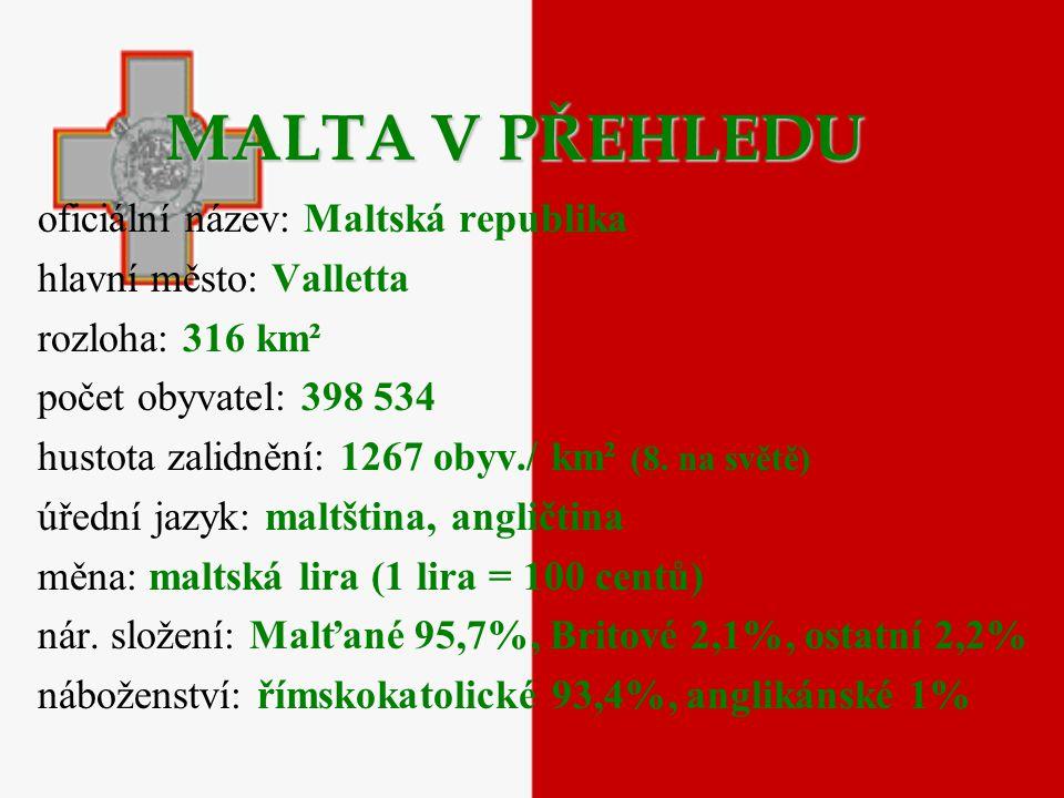 MALTA V PŘEHLEDU oficiální název: Maltská republika
