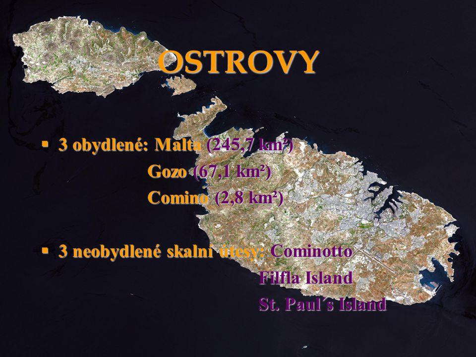 OSTROVY 3 obydlené: Malta (245,7 km²) Gozo (67,1 km²) Comino (2,8 km²)