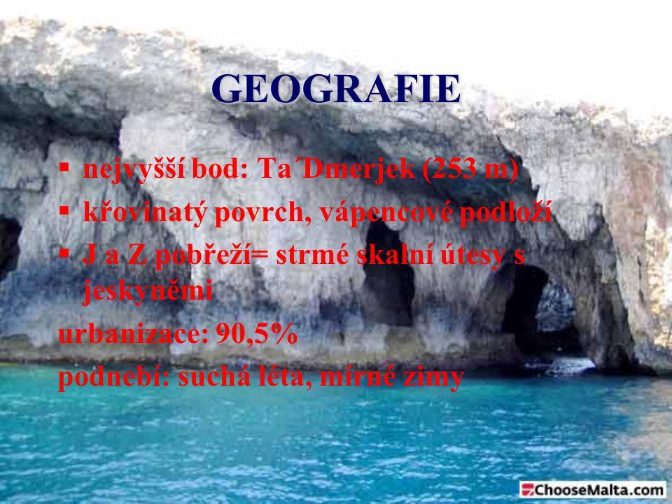 GEOGRAFIE nejvyšší bod: Ta´Dmerjek (253 m)