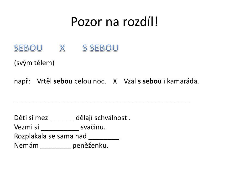 Pozor na rozdíl! SEBOU X S SEBOU (svým tělem)