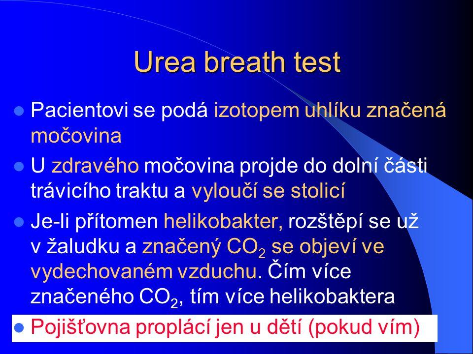 Urea breath test Pacientovi se podá izotopem uhlíku značená močovina