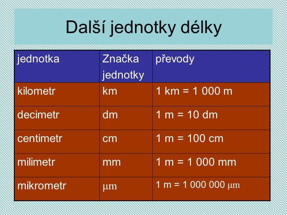 Další jednotky délky jednotka Značka jednotky převody kilometr km
