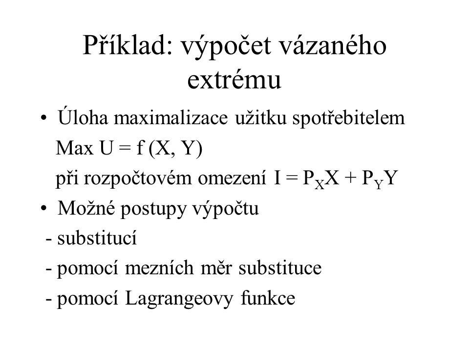 Příklad: výpočet vázaného extrému