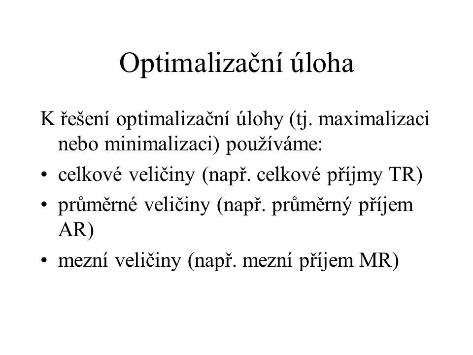 Optimalizační úloha K řešení optimalizační úlohy (tj. maximalizaci nebo minimalizaci) používáme: celkové veličiny (např. celkové příjmy TR)