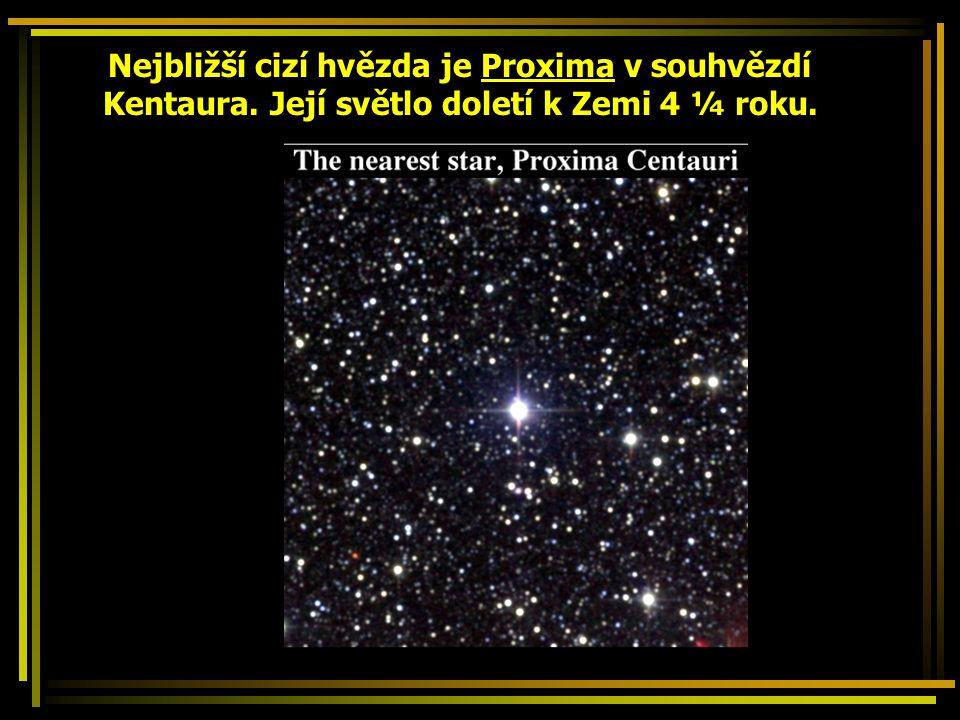 Nejbližší cizí hvězda je Proxima v souhvězdí Kentaura