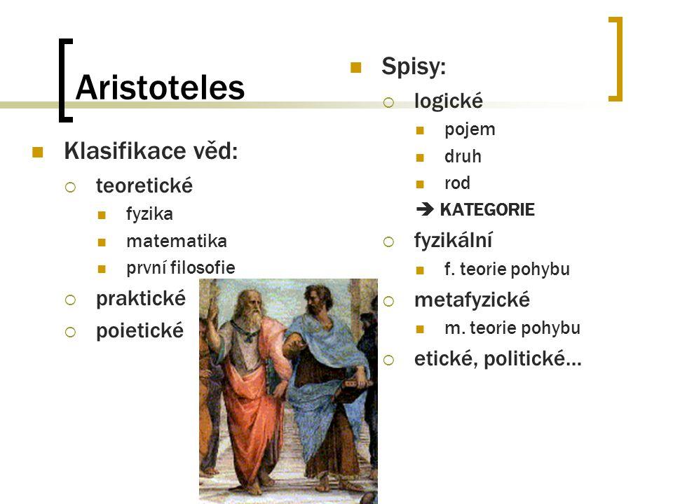 Aristoteles Spisy: Klasifikace věd: logické fyzikální teoretické