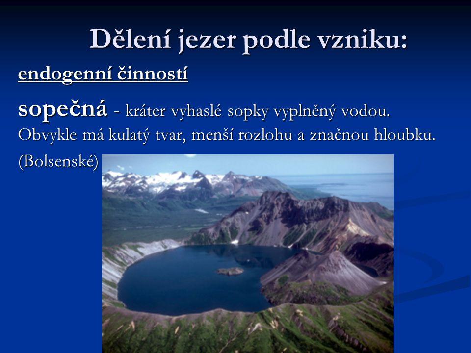Dělení jezer podle vzniku: