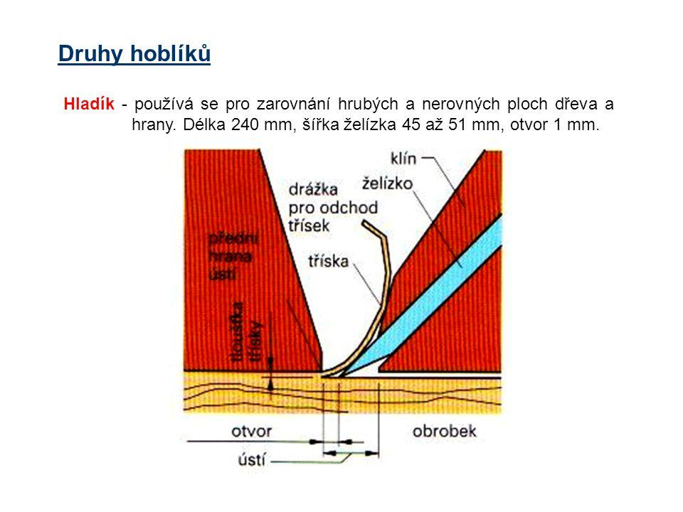 Druhy hoblíků Hladík - používá se pro zarovnání hrubých a nerovných ploch dřeva a hrany.