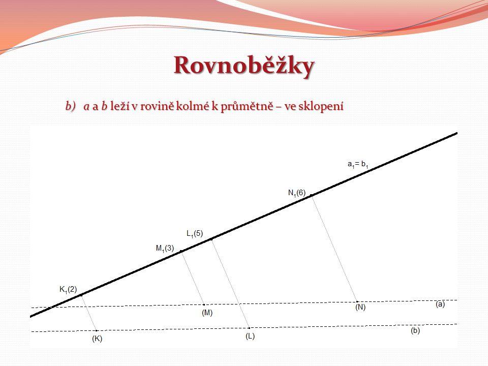 Rovnoběžky a a b leží v rovině kolmé k průmětně – ve sklopení